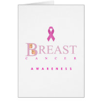 Breast cancer awareness graphic in pink colors card