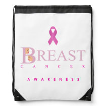 Breast cancer awareness graphic in pink colors drawstring bag