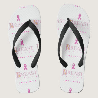 Breast cancer awareness graphic in pink colors flip flops
