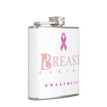 Breast cancer awareness graphic in pink colors hip flask