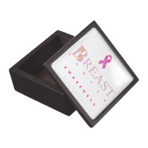 Breast cancer awareness graphic in pink colors jewelry box