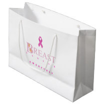 Breast cancer awareness graphic in pink colors large gift bag