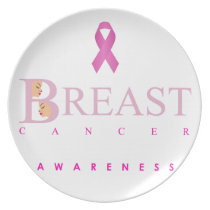 Breast cancer awareness graphic in pink colors melamine plate