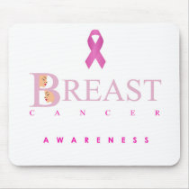 Breast cancer awareness graphic in pink colors mouse pad