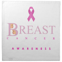 Breast cancer awareness graphic in pink colors napkin