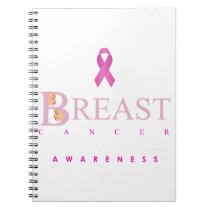 Breast cancer awareness graphic in pink colors notebook