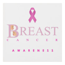 Breast cancer awareness graphic in pink colors panel wall art