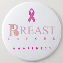 Breast cancer awareness graphic in pink colors pinback button