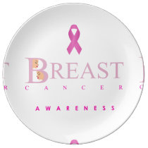 Breast cancer awareness graphic in pink colors plate