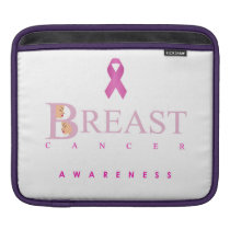 Breast cancer awareness graphic in pink colors sleeve for iPads