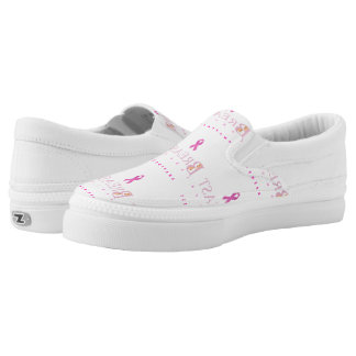 Breast cancer awareness graphic in pink colors Slip-On sneakers