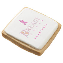 Breast cancer awareness graphic in pink colors square shortbread cookie