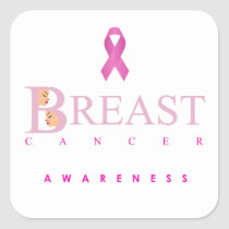 Breast cancer awareness graphic in pink colors square sticker