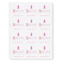 Breast cancer awareness graphic in pink colors temporary tattoos