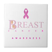 Breast cancer awareness graphic in pink colors tile