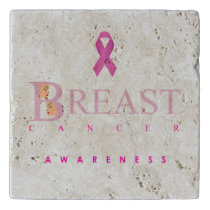 Breast cancer awareness graphic in pink colors trivet