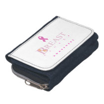 Breast cancer awareness graphic in pink colors wallets