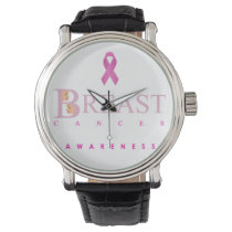 Breast cancer awareness graphic in pink colors wrist watch