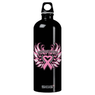 Breast Cancer Awareness Heart Wings Aluminum Water Bottle