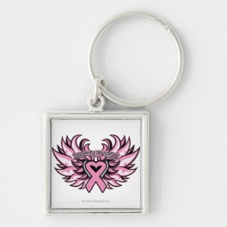 Breast Cancer Awareness Heart Wings.png Silver-Colored Square Keychain