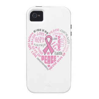 Breast Cancer Awareness Heart Words Vibe iPhone 4 Cases
