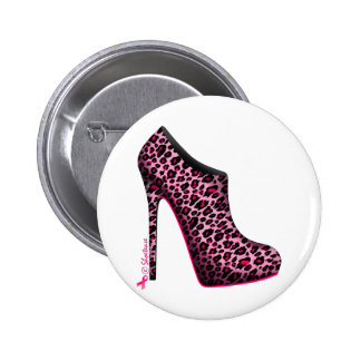 Breast Cancer Awareness Leopard Bootie Button