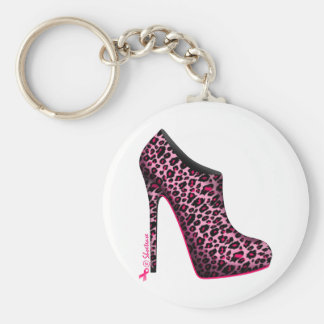 Breast Cancer Awareness Leopard Bootie Keychain