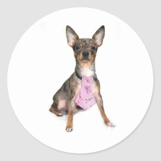 Breast Cancer Awareness Manny the Merle Chihuahua Classic Round Sticker