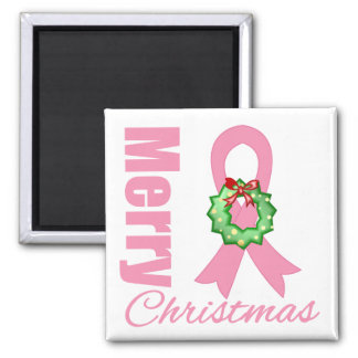 Breast Cancer Awareness Merry Christmas Ribbon 2 Inch Square Magnet
