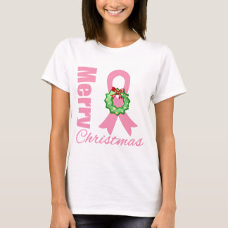 Breast Cancer Awareness Merry Christmas Ribbon T-Shirt