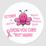 Breast Cancer Awareness Month Bee 1.1 Round Stickers
