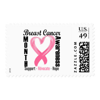 Breast Cancer Awareness Month Brushed Heart Stamps