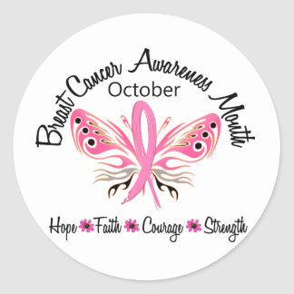 Breast Cancer Awareness Month Butterfly 3.2 Round Sticker