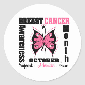 Breast Cancer AWARENESS Month Butterfly Round Sticker