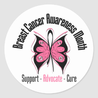 Breast Cancer Awareness Month Butterfly v2 Round Sticker