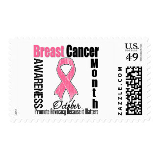 Breast Cancer Awareness Month Distressed Ribbon Postage Stamp