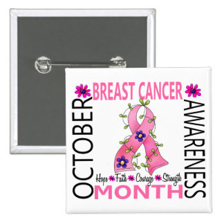 Breast Cancer Awareness Month Flower Ribbon 1 Button