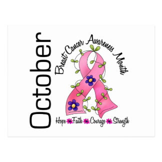 Breast Cancer Awareness Month Flower Ribbon 1 Postcard
