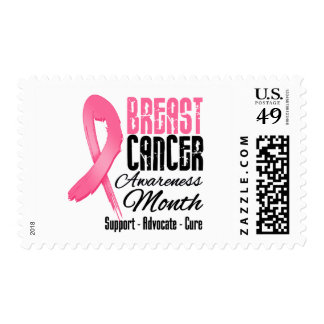 Breast Cancer Awareness Month Grunge Ribbon Postage Stamps