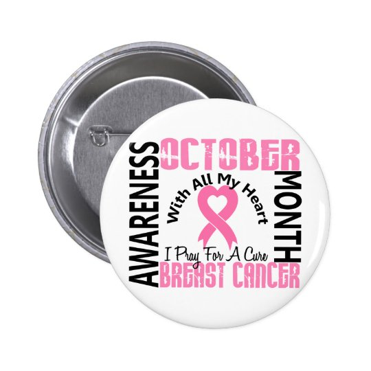 Breast Cancer Awareness Month Heart 1.2 Button