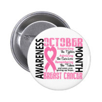 Breast Cancer Awareness Month Heart 1.5 Button