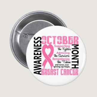 Breast Cancer Awareness Month Heart 1.5 Button