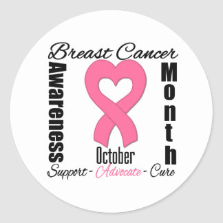Breast Cancer Awareness Month Heart Ribbon Round Stickers