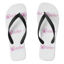 Breast Cancer awareness month October Flip Flops