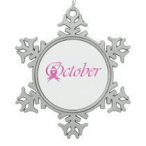 Breast Cancer awareness month October Snowflake Pewter Christmas Ornament
