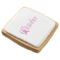 Breast Cancer awareness month October Square Shortbread Cookie
