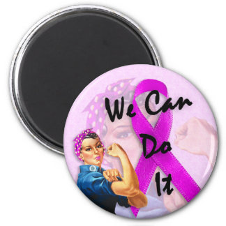 Breast Cancer Awareness Month, Rosie the Riveter 2 Inch Round Magnet