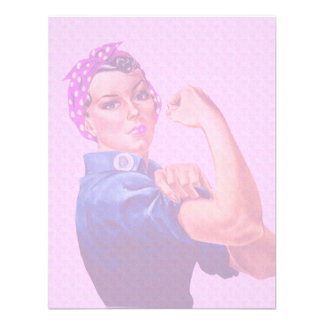 Breast Cancer Awareness Month Rosie the Riveter Custom Announcements