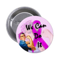 Breast Cancer Awareness Month, Rosie the Riveter Pinback Button