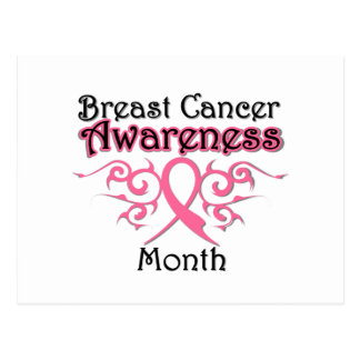 Breast Cancer Awareness Month Tribal Ribbon Postcard